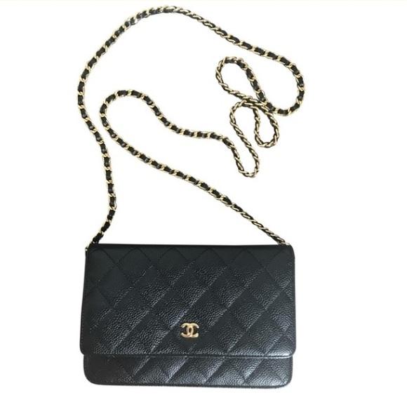 01ba1fb1 CHANEL Classic Caviar Leather Clutch Gold Chain
